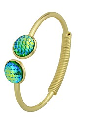Недорогие -Жен. Браслет разомкнутое кольцо , Простой На каждый день Имитация турмалина Сплав Круглый Бижутерия Выпускной Свидание Бижутерия Зеленый