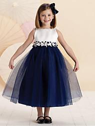 abordables -Robe Fille de Mosaïque Coton Eté Sans Manches Mignon Décontracté Bleu Rose Claire
