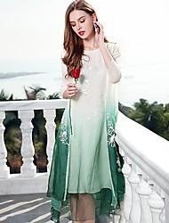 Недорогие -Жен. Шинуазери (китайский стиль) Свободный силуэт Платье - Контрастных цветов, Классический