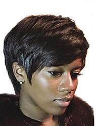 cheap -Human Hair Capless Wigs Human Hair Natural Wave Pixie Cut With Bangs Side Part Machine Made Wig