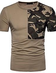 economico -T-shirt Per uomo Ufficio Con stampe, Monocolore Camouflage Rotonda - Cotone