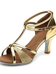preiswerte -Damen Schuhe für den lateinamerikanischen Tanz Glitzer / Kunstleder Sandalen / Absätze Schnalle / Pailetten Blockabsatz Maßfertigung