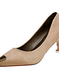 cheap -Women's Shoes PU Spring Fall Comfort Heels High Heel Pointed Toe for Black Red Khaki