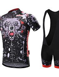 Недорогие -Malciklo Муж. С короткими рукавами Велокофты и велошорты-комбинезоны - Белый Черный Английский Велоспорт Наборы одежды, 3D-панель,
