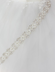 cheap -Metalic Wedding Party / Evening Sash With Faux Pearl Crystals/Rhinestones Women's Sashes