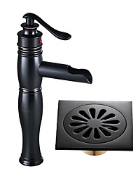 baratos -Faucet Set - Cascata Bronze Polido a Óleo Conjunto Central Monocomando e Uma Abertura