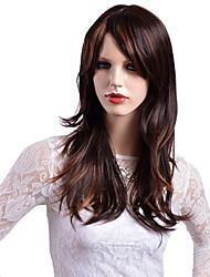 economico -Parrucche sintetiche Ondulato Taglio asimmetrico Con frangia Densità Senza tappo Marrone Parrucca di celebrità Parrucca per festa