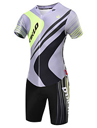 cheap -Malciklo Men's Short Sleeve Triathlon Tri Suit - Gray British / Geometic Bike Quick Dry, Breathable Coolmax® / Lycra