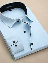 billige -Klassisk krave Tynd Herre-Ensfarvet Forretning Skjorte
