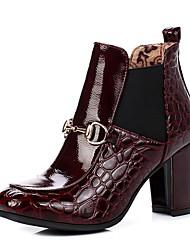 baratos -Mulheres Sapatos Courino Primavera Outono Curta / Ankle Botas da Moda Botas Salto Robusto Ponta quadrada Botas Curtas / Ankle para Festas