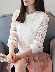 cheap -Women's Daily Work Vintage Active Spring Fall Blouse,Solid Round Neck Long Sleeve Polyester