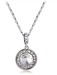 cheap -Women's Crystal / Cubic Zirconia Pendant Necklace  -  Crystal, Zircon, Silver Plated Fashion, Elegant Silver Necklace One-piece Suit For Party, Formal
