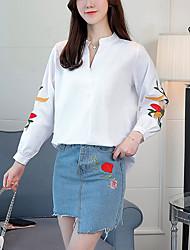 voordelige -Dames Geborduurd Overhemd Gestreept Kleurenblok V-hals Lantern Sleeve