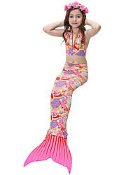 baratos -Para Meninas Fofo Activo Estampado Roupa de Banho, Algodão Poliéster Sem Manga Arco-íris