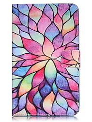 Недорогие -Кейс для Назначение SSamsung Galaxy Tab 4 7.0 Бумажник для карт Кошелек со стендом С узором Авто Режим сна / Пробуждение Чехол Цветы