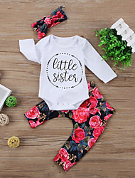 cheap -Baby Unisex Daily Sports Floral Clothing Set,Cotton Spring Fall Cute Casual Long Sleeve White