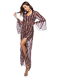 cheap -Women's Beach Boho Flare Sleeve Loose Chiffon Dress - Floral, Split Print Maxi V Neck
