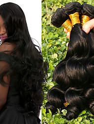 cheap -Brazilian Hair Loose Wave Human Hair Weaves 4pcs Natural Color Hair Weaves