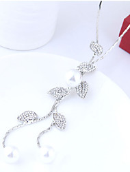 cheap -Women's Leaf Shape Elegant European Pendant Necklace Rhinestone Imitation Pearl Alloy Pendant Necklace Party