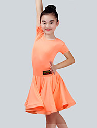 cheap -Latin Dance Dresses Girls' Performance Spandex Ruching Short Sleeves Dress