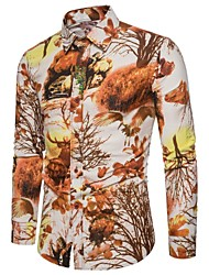 cheap -Men's Plus Size Linen Shirt