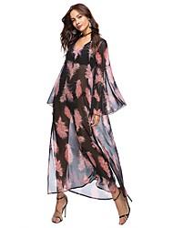 Недорогие -Жен. Пляж Богемный Вспышка рукава Свободный силуэт Шифон Платье - Цветочный принт, С разрезами С принтом V-образный вырез Макси