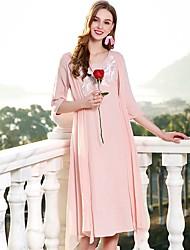 Недорогие -Жен. Шинуазери (китайский стиль) Свободный силуэт Платье - Сплошной цвет, Классический V-образный вырез