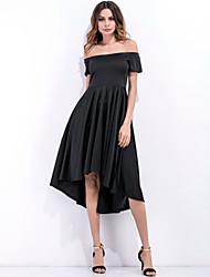Недорогие -Жен. Тонкие С летящей юбкой Платье - Сплошной цвет, Классический Завышенная Без бретелей Ассиметричное
