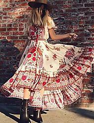 abordables -Femme Balançoire Robe - Glands, Fleur Sans Bretelles Maxi