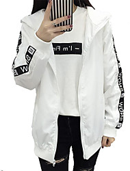 cheap -Women's Going out Street chic Fall Jacket,Color Block Floral Print Hooded Long Sleeve Regular Others
