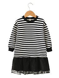 abordables -Robe Fille de Quotidien Sortie Couleur Pleine Rayé Mosaïque Coton Polyester Printemps Automne Manches Longues Mignon Actif Noir