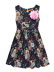 cheap -Girl's Daily Going out Floral Print Dress, Linen Spring Summer Sleeveless Cute Active White Black