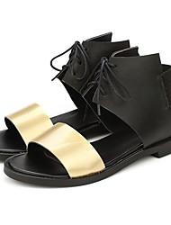 abordables -Mujer Zapatos Semicuero Verano Tira en el Tobillo Sandalias Tacón Cuadrado Puntera abierta para Dorado Plata