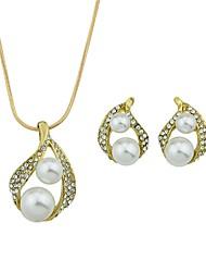 cheap -Women's Rhinestone Imitation Pearl Jewelry Set 1 Necklace Earrings - Cute Sweet Drop Stud Earrings Pendant Necklace For Ceremony Date