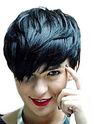 cheap -Human Hair Capless Wigs Human Hair Natural Wave Pixie Cut Side Part Machine Made Wig