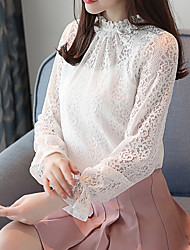 cheap -Women's Going out Street chic Spring Summer Blouse, Solid Round Neck Long Sleeves Cotton Polyester