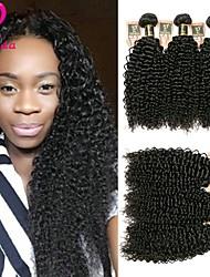 Недорогие -Бразильские волосы Kinky Curly Человека ткет Волосы Ткет человеческих волос Черный / Кудрявый вьющиеся