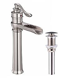 abordables -Robinet lavabo - Jet pluie Bronze huilé / Nickel brossé Set de centre Mitigeur un trou
