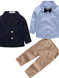 cheap -Boys' Party Daily Going out School Solid Print Clothing Set, Cotton Simple Vintage Cute Casual Active Navy Blue