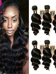 cheap -Brazilian Hair Loose Wave Virgin Human Hair Natural Color Hair Weaves 6 Bundles Human Hair Weaves Natural Black Human Hair Extensions