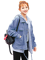 cheap -Women's Daily Simple Casual Winter Fall Denim Jacket,Solid Hooded Long Sleeve Short Others
