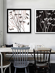 cheap -Abstract Floral/Botanical Illustration Wall Art,Plastic Material With Frame For Home Decoration Frame Art Living Room Indoor