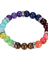cheap -Women's Turquoise Silver Plated Colorful 1pc Chain Bracelet - Colorful Circle Rainbow Bracelet For Gift Daily