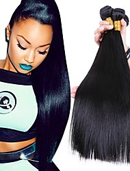 Недорогие -3 Связки Бразильские волосы Прямой Натуральные волосы Человека ткет Волосы Ткет человеческих волос Расширения человеческих волос / Прямой силуэт