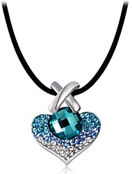 cheap -Women's Crystal / Cubic Zirconia Pendant Necklace - Silver Plated Heart Classic Light Blue Necklace For Party, Formal