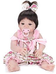 Недорогие -NPK DOLL Куклы реборн Дети 22 дюймовый Полный силикон для тела Силикон Винил - как живой Ручные прикладные ресницы Гофрированные и запечатанные ногти Детские Девочки Игрушки Подарок / CE