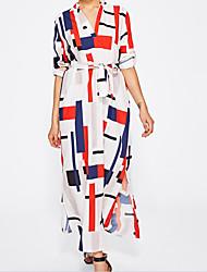 abordables -Femme Décontracté Basique Ample Robe Géométrique Col en V Maxi