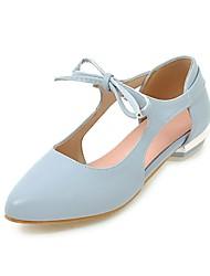 abordables -Femme Chaussures Similicuir Printemps / Eté Confort Ballerines Talon Bottier Bout pointu Blanc / Rose / Bleu clair