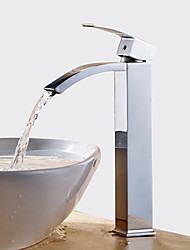 cheap -Bathroom Sink Faucet - Waterfall / Widespread Chrome Centerset Single Handle One Hole / Brass