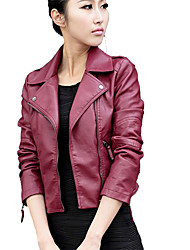 cheap -Women's Work Punk & Gothic Street chic Leather Jacket-Solid Colored Shirt Collar
